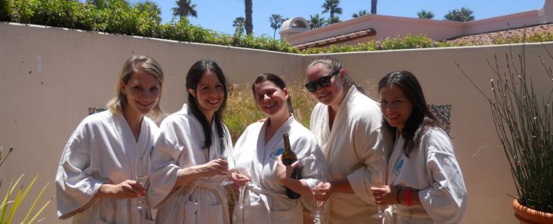 group of ladies at a santa barbara spa del mar bridal party